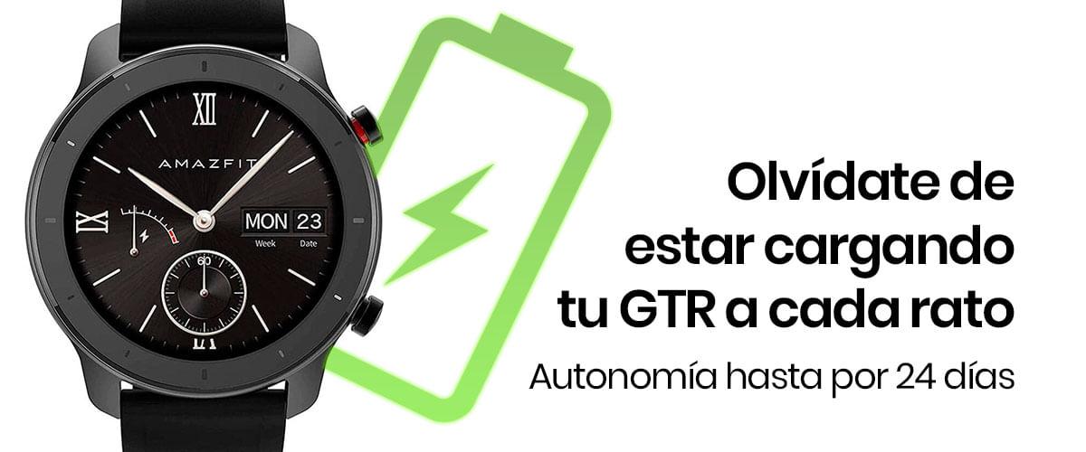 El Amazfit GTR 42mm viene equipado con 195 mAh, los cuales nos darán hasta 24 días de autonomía en su modo reloj y hasta 145 en reposo.