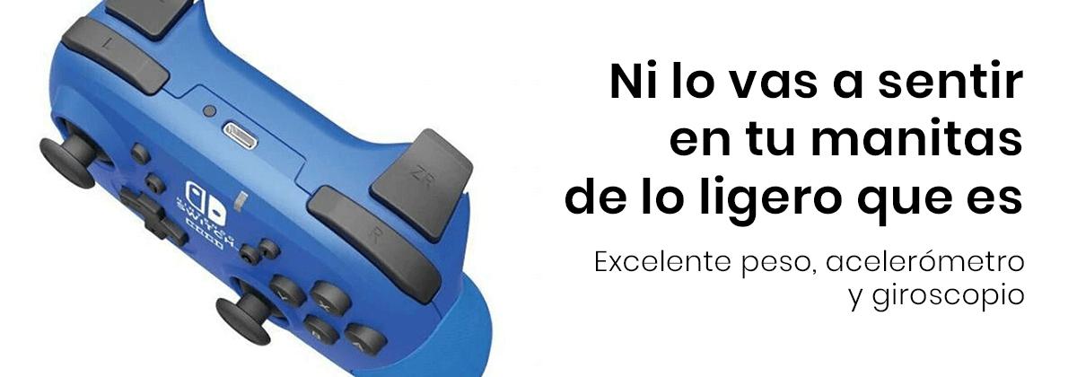 El Control Alámbrico Hori Nintendo Switch es ligero y está equipado con un acelerómetro y un giroscopio para controlar el movimiento completo