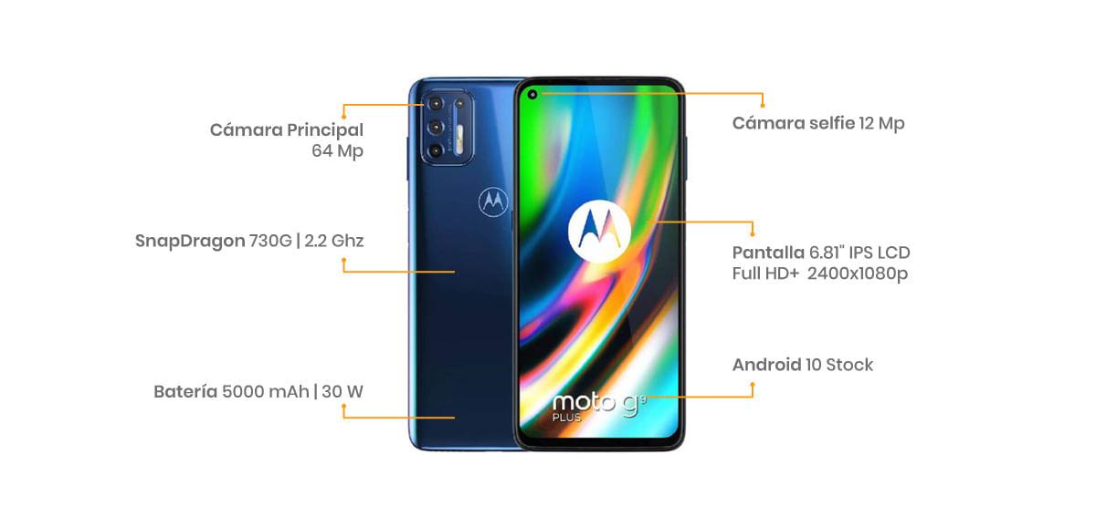 """El Motorola G9 Plus cuenta con una pantalla de 6.81"""", cuatro cámaras pa que tengas los mejores recuerdos 64 + 8 + 2 + 2 MP"""