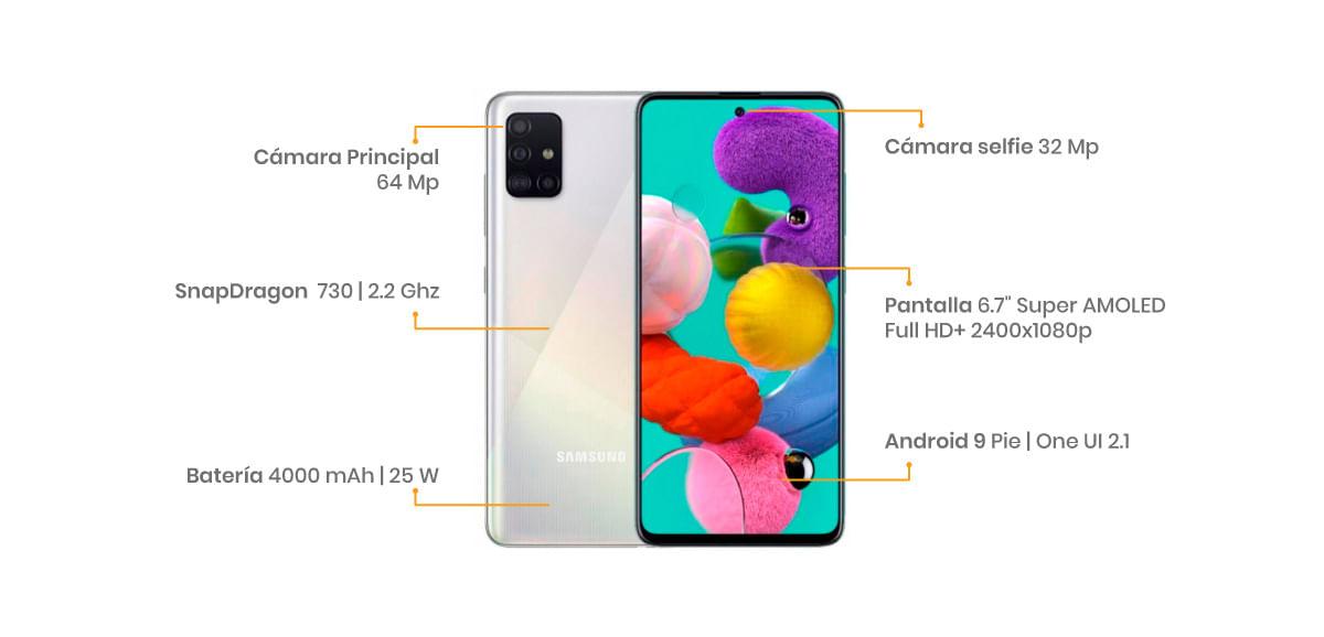 """Samsung Galaxy A71 características, pantalla súper AMOLED Plus FHD+ de 6.7"""",Gorilla Glass 3, cuatro cámaras 64 + 12 + 5 + 5 MP y para selfie de 32 MP, lector de huellas en pantalla y una poderosa batería de 4500 mAh"""