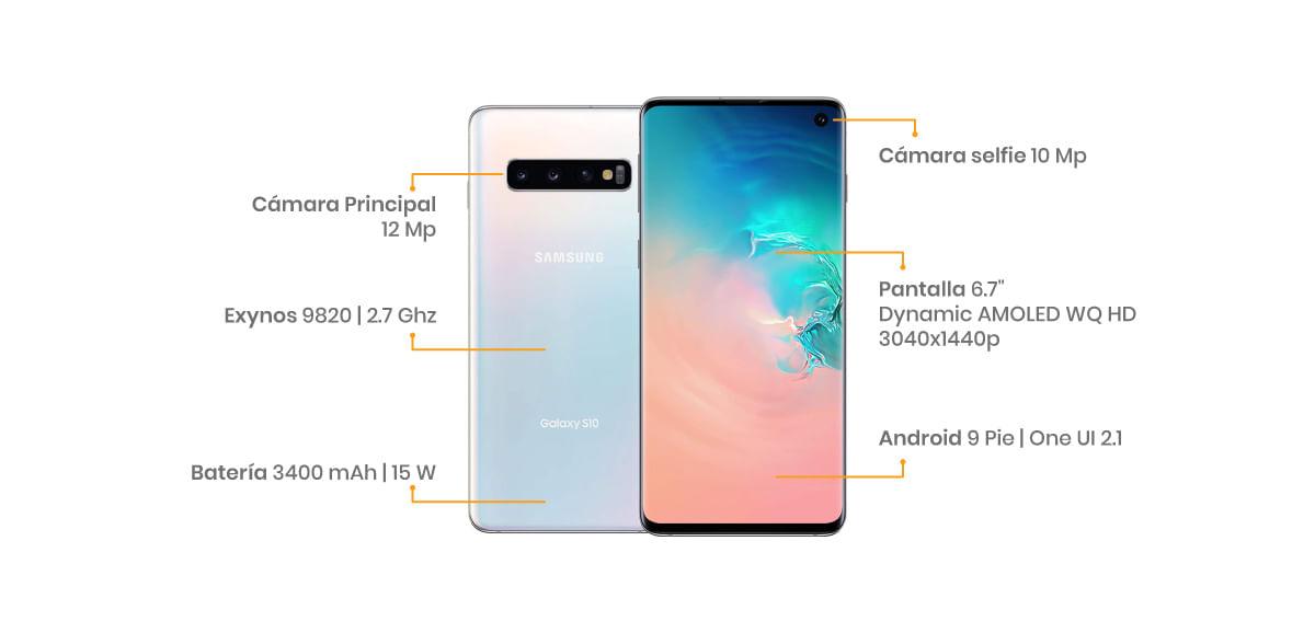 """El Samsung Galaxy S10 integra una pantalla QHD+ Dynamic AMOLED de 6.1"""", cuatro cámaras, tres en la parte trasera de 16 + 12 + 12 MP  y una en la parte frontal de 10 MP, viene potenciado con un procesador Exynos 9820"""