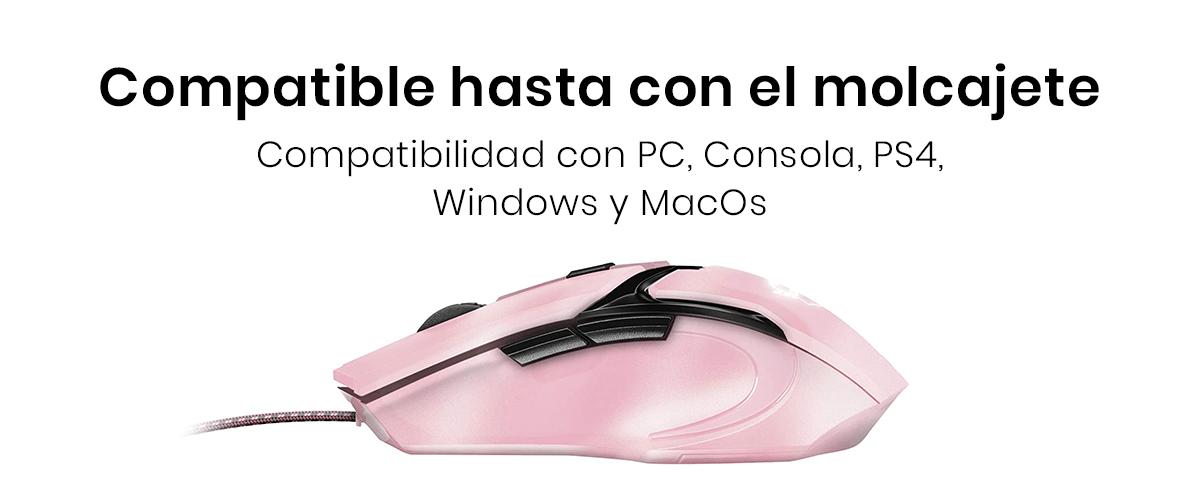 El Mouse Alámbrico Trust Gaming es compatible con pc, laptop o consolas de gaming (PS4 / Xbox One)y con sistemas operativos