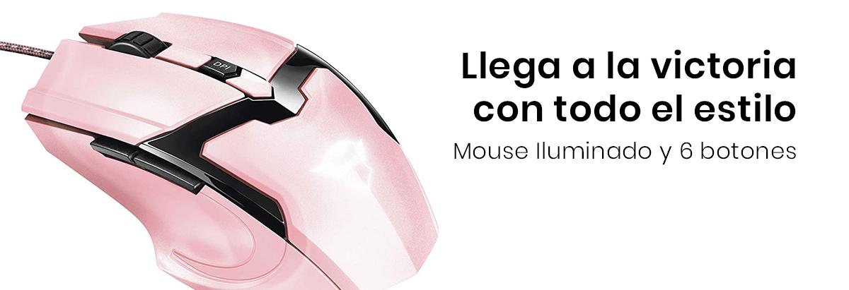 El Mouse Alámbrico Trust Gaming es un mouse óptico con una velocidad máxima de 4800 dpi, iluminación LED y 6 botones
