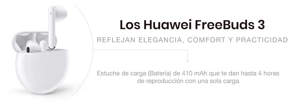 estuche de carga huawei freebuds 3, batería de 410 mAh, hasta 4 horas de duración