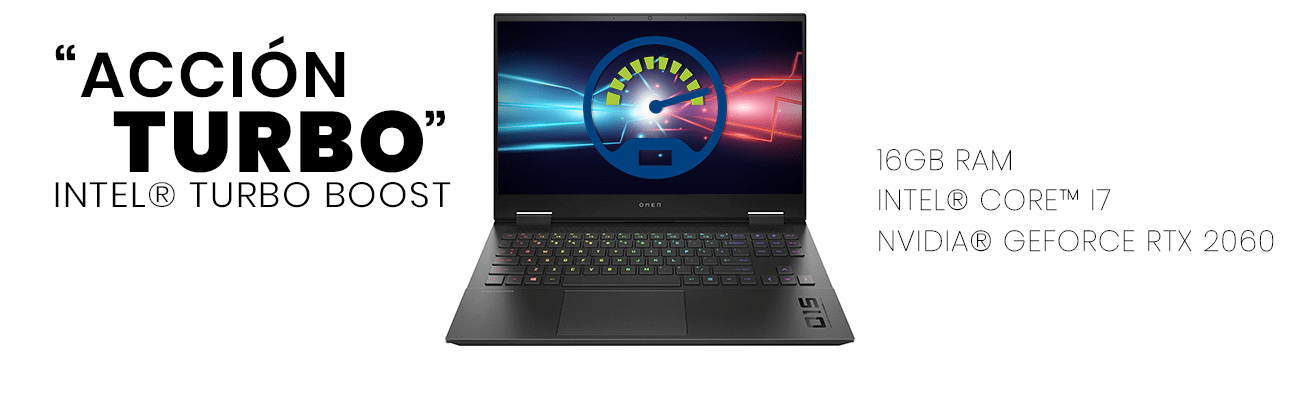 La laptop hp Omen cuenta con tecnología Intel Turbo Boost