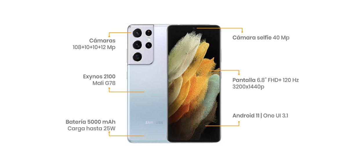 """El Samsung Galaxy S21 Ultra 5G cuenta con una pantalla Infinity-O dynamic AMOLED 2X de 6.8"""" con una maravillosa resolución QHD+"""