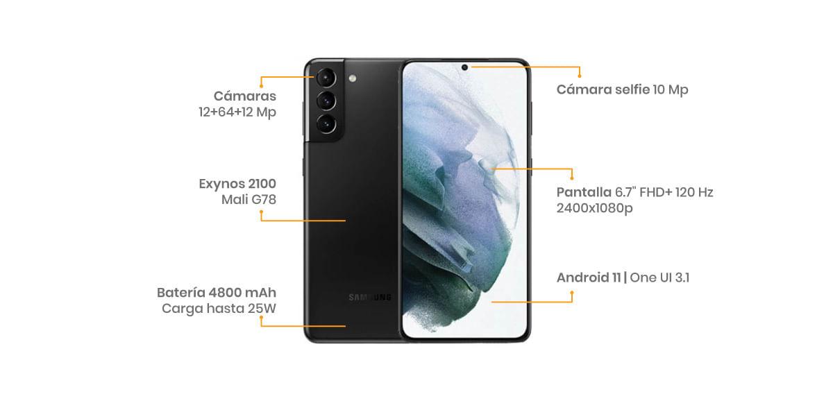 El Samsung Galaxy S21 Plus con un procesador Exynos 2100 y una batería de 4,800 mAh