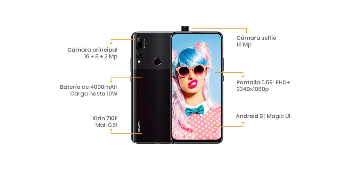 El Huawei Y9 Prime viene con 3 cámaras lideradas por una de 16 MP + 8 MP + 2 MP y una frontal de 16 MP y con todo el poder del Kirin 710F