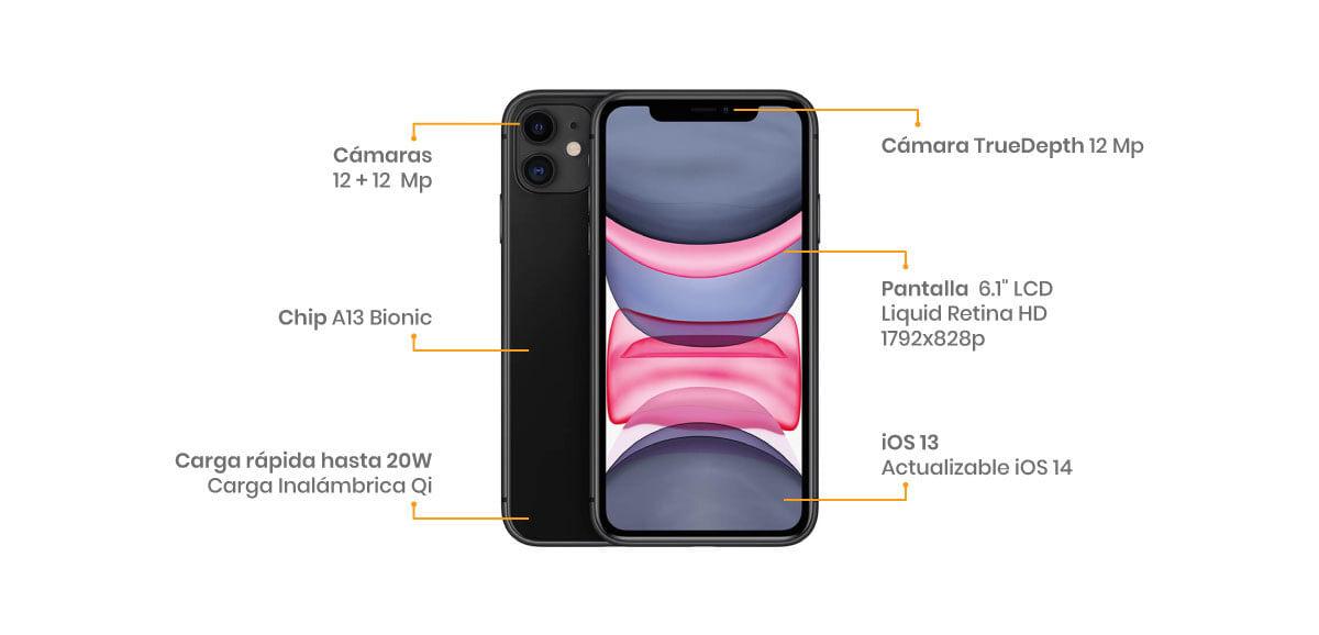 El Apple iPhone 11 64GB cuenta con dos cámaras de 12 + 12 MP y una frontal TrueDepth de 12 MP