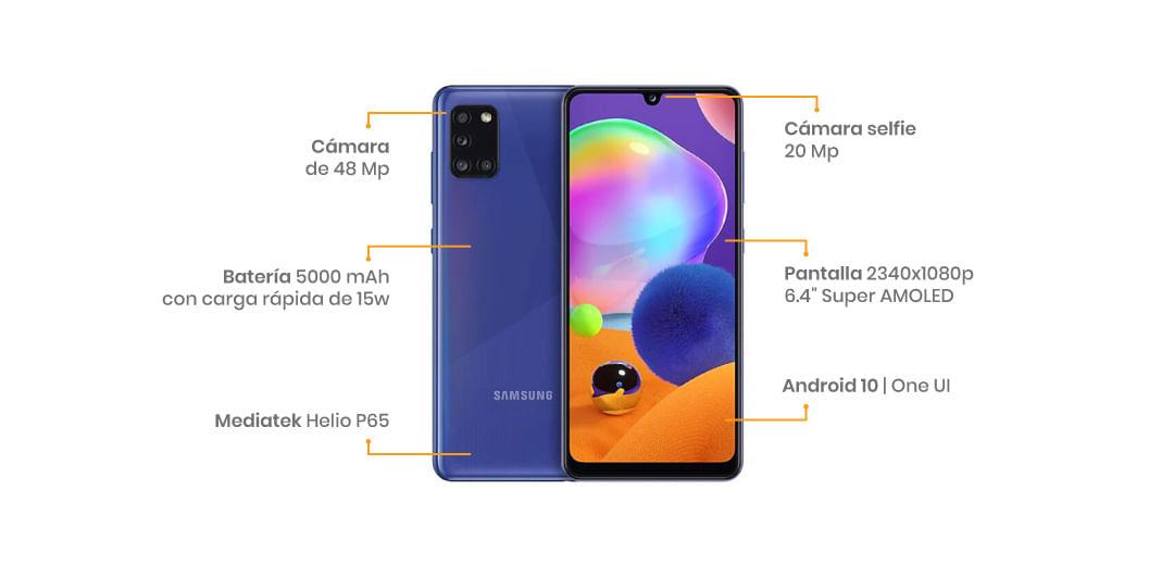 """El Samsung Galaxy A31 cuenta con una pantalla Super AMOLED FHD+ de 6.4"""", su cámara es cuádruple está liderada por un sensor de 48 MP y para las selfies tenemos 20MP"""
