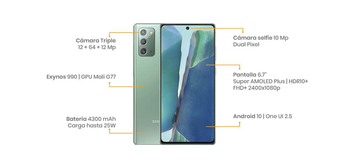 """El Samsung Galaxy Note 20 cuenta con una pantalla super AMOLED de 6.7"""", tres cámaras de 64 + 12 + 12 MP y una frontal de 10 MP"""
