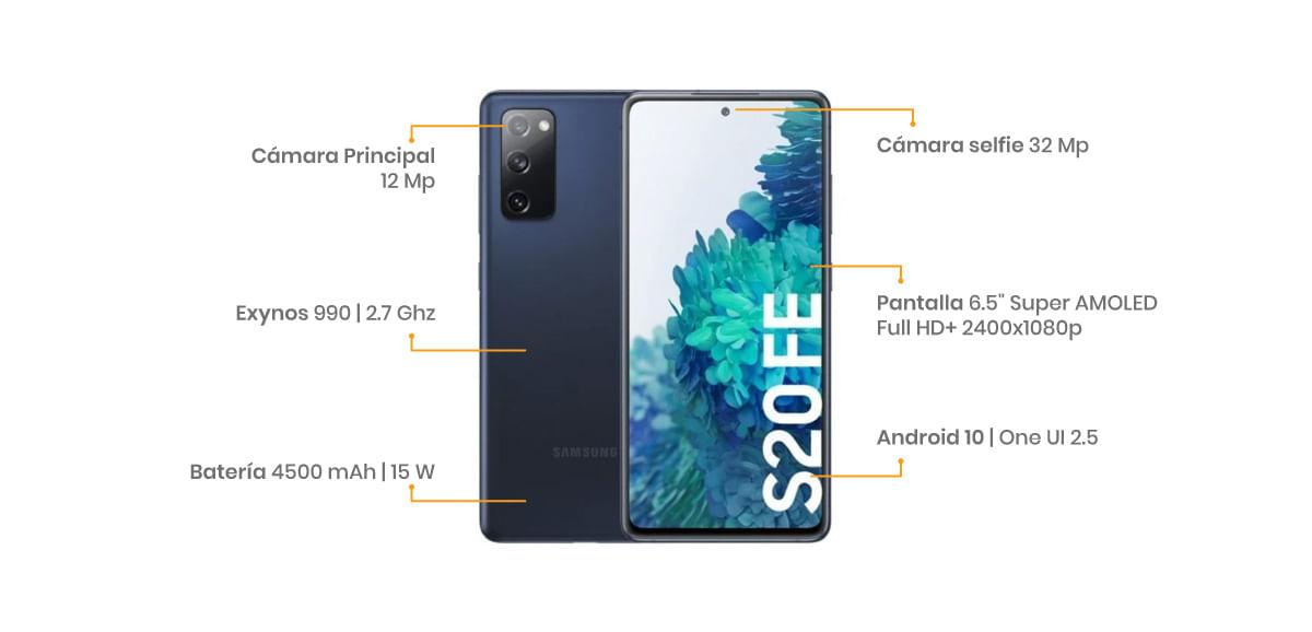 """Samsung Galaxy S20 FE una pantalla AMOLED de 6.5"""" FHD+, triple cámara trasera de 12 + 8 + 12 megapíxeles y en la frontal tenemos una de 32 MP para que salgas bien preciose. En el interior de esta chulada tenemos una batería compatible con carga rápida de nada más y nada menos que 4500 mAh"""