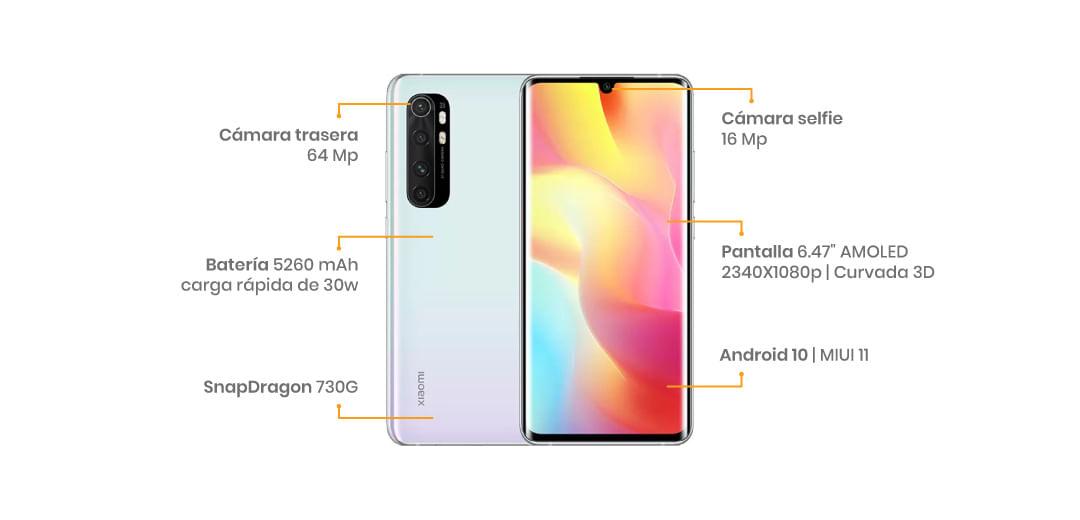 """El Xiaomi Mi Note 10 Lite  cuenta con una pantalla AMOLED FHD+ de 6.47"""", cuenta con cuatro sensores en la parte trasera, liderados por uno de 64 MP"""