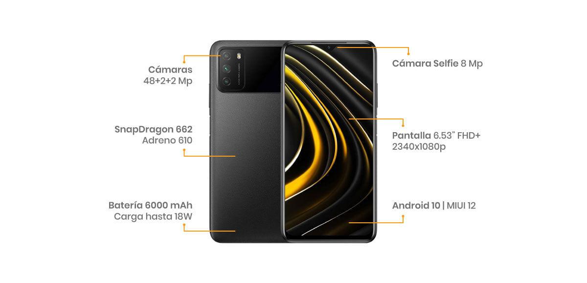 El Poco M3 viene con un sistema de 3 cámaras, la principal de 48, una macro de 2 y un sensor de profundidad de 2 MP, de igual forma, haciéndole honor a sus predecesores viene con procesador Adreno 610