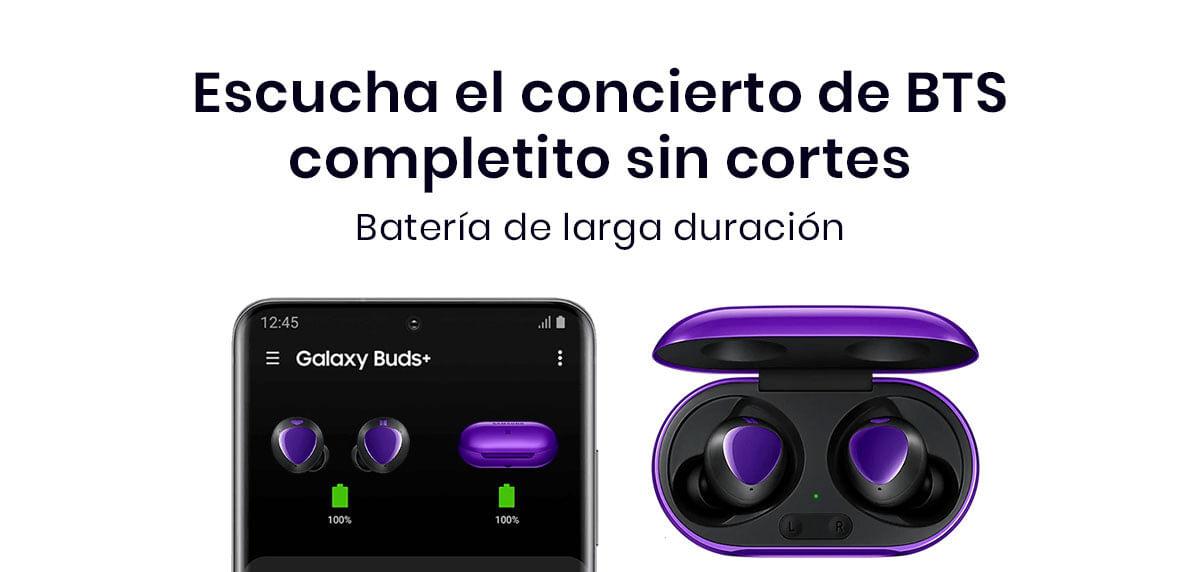 Los Samsung Galaxy Buds+ BTS Edition cuentan con una increíble batería que dura hasta 11 horas con solo una carga y lo mejor es que la puedes extender hasta 22 horas gracias a su estuche de carga