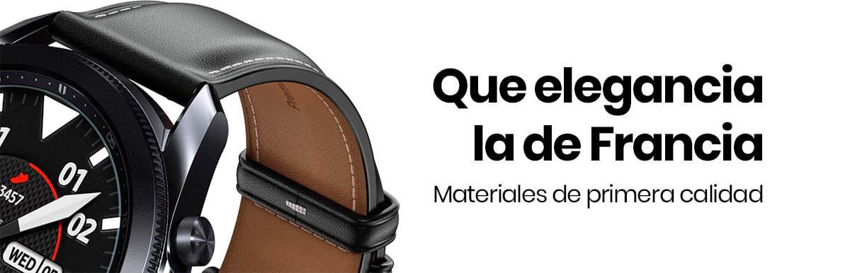 El Samsung Galaxy Watch 3 41mm cuenta con una correa de piel de primera calidad, además, está reforzada lo protege contra la decoloración, así que siempre se verá bien