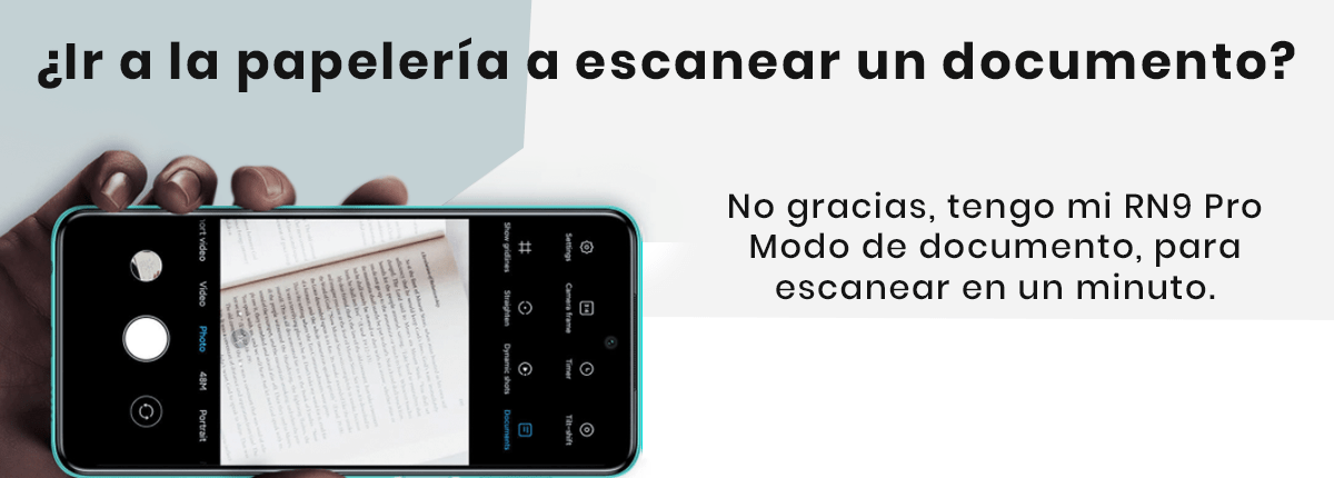 """Con el Xiaomi Redmi Note 9 Pro  podrás escanear documentos, solo entras a la cámara, das en las tres líneas y te aparecerá el """"Modo Documento"""