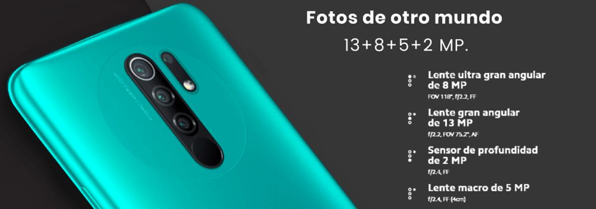 Xiaomi Redmi 9, cuenta con 4 cámaras de 13 + 8 + 5 + 2 MP, lo mejor es que podrás usar funciones premium.